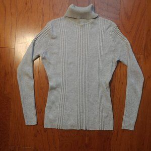Women's Turtle Neck Knitted Grey Sweater